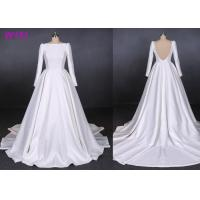 China Satin Hepburn Backless Beige Wedding Dress For Custom Order , Anti - Static wholesale