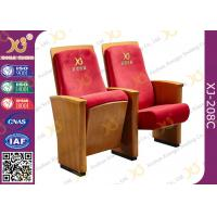 China High-end Red Fabric Auditorium Chairs With Folded Writing Tablet wholesale