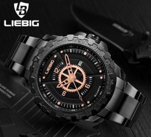 Quality Wholesale LIEBIG Men Outdoor Waterproof 30m Commander Series Military Sport Steel Band Quartz Wrist Watches S202 for sale