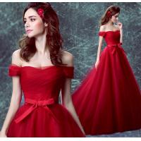 China Off The Shoulder Red Crepe Boat Neck Gorgeous Small Train Evening Dress TSJY132 wholesale