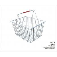 China Durable Mesh Handing Metal Shopping Basket With Double Handles 400x300x220mm wholesale