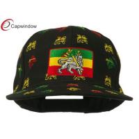 Quality Acrylic Velcrorized Strap Closure Snapback Baseball Cap , Black Rasta Lion Print Flat Bill Cap for sale