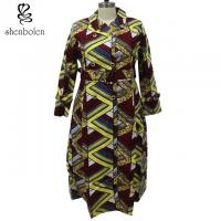 China Wax Printed African Ladies Jackets And Coats With Belt Pockets Long Sleeve wholesale