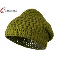 China Avocado Woman's Plain Beanie Winter Hats with Acrylic / Hand Washable wholesale