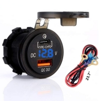 China Quick Charger 3.0 Socket + Type C Output w/Blue led Voltmeter for Car, Marine, Boat wholesale