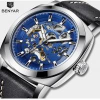 China BENYAR  Men Fashion Hollow-out automatic mechanical wristwatch Genuine Leaher Band Waterproof 30m  Watch  BY-5121 wholesale