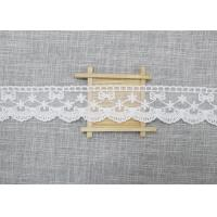 China White Embroidered Lace Trim For Smocked Dress / Lace Ribbon Embroidery Fabric wholesale