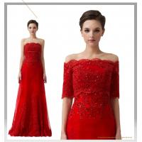 China Red Off Shoulder Rhinestone Bridesmaids Wedding Dresses with short sleeve wholesale