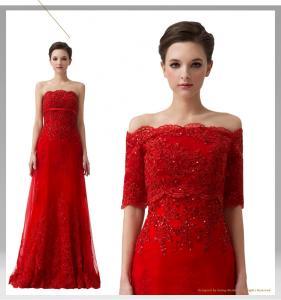 China Red Off Shoulder Rhinestone Bridesmaids Wedding Dresses with short sleeve wholesale