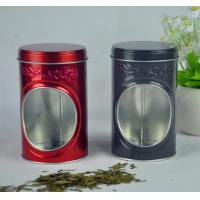 China Display Food Grade Tin Containers With Window And Embossing On Box Body wholesale