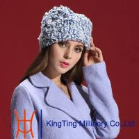 China Blue Whit Russian Fur Hats , soviet fur hat for Normal day / Church wholesale