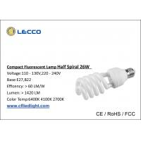 Buy cheap 8000H Half Spiral Cfl Fluorescent Bulbs E27 Base Tricolor For Shop / Office from wholesalers