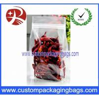China Clear Plastic Food Packaging Bags Side Gussest With ZipLock Dried Chili on sale