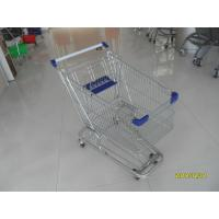 Quality Zinc Plated 80L Supermarket Shopping Trolley With Bottom Tray And Plastic Parts for sale