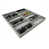 China Soft Velvet Gray 12  Grids Of Eyeglasses And Sunglasses Display Tray Case wholesale
