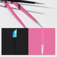 China 2 Heads Nail Care Tools Light Weight Tweezers With Silicone Pressing Head wholesale
