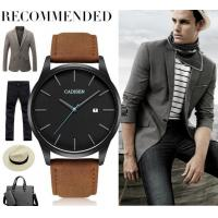 China Simple Fashion 10mm Ultra-thin Leather Band 3 ATM Waterproof Men Quartz Wrist  Watch C2021 wholesale