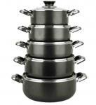 China 7 Pieces Aluminum Non Stick Sauce Pot Set , Black 16 - 30cm wholesale