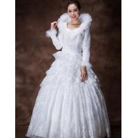 China Custom Made Thick ruffled women Wedding Dresses with V neck , XXXL S M L XL XXL size wholesale