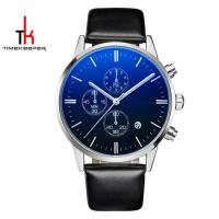 China Fitness Stainless Steel Leather Watch Five Hands Water Proof 3 ATM on sale