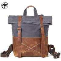 China new design backpack men vintage retro canvas travel shoulder bag waterproof oil wax canvas business bag leather man wholesale