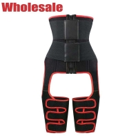 China Red Velcro 3 In 1 Thigh Trimmer NANBIN Waist Trainer With Thigh Bands wholesale