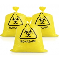 Puncture Resistance HDPE Autoclavable Plastic Bags Yellow For Hospitals