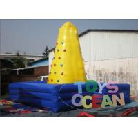 China Yellow Inflatable Rock Climbing Wall / Toddlers Fun Interactive Party Games wholesale