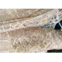 China Champagne Gorgeous Flowers Sequin Lace Fabric With Dot Scalloped For Party Gown wholesale