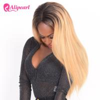China Natural Looking Human Straight Lace Front Wigs 1B/27 Color Pre Pluck Baby Hair wholesale
