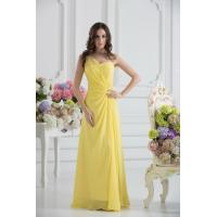 China Elegant One Shoulder Sweetheart A-line Chiffon Yellow party Prom Dress Online Shop wholesale