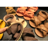 Rubber Sole Open Toe Leather Baby Walking Shoes