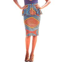 China Summer Dashiki Batik African Print Skirts High Waist Pencil Knee Length Pure Cotton wholesale