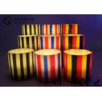 China Colorful Flameless Led Candles With Stripes Flat Top Candles ST0011 wholesale