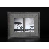 China 2 - Openings 5x7 Wooden Matted Wall Hanging Photo Frames In Antique Dark Gray Finishing wholesale