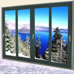China Aluminum Double Sliding Glazed Doors / Tea Glass Double Slider Patio Doors wholesale
