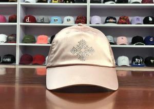 China Hot Sales ACE Unisex Adjustable Rhinestone Embroidery Logo Satin Fabric Soft Design Baseball Cap Curve Hat wholesale