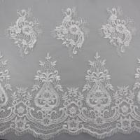 China 3D Eyelash Polyester Yarn On Nylon Mesh Corded Embroidery Lace Fabric For Bridal wholesale