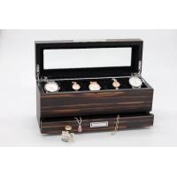 China wooden jewelry box with drawer, jewlery organizer, top tray for watches, with glass window at top wholesale