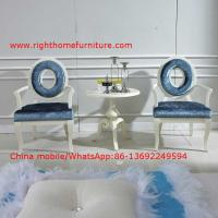 China Leisure fabric with white painting solid wood chair in Neoclassical design and cocktail end table wholesale