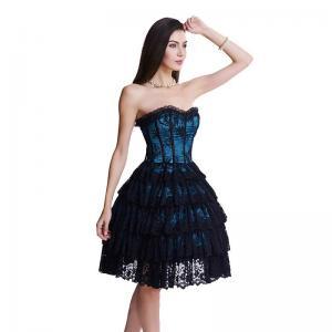 China Dark Blue Lace Bustier And Corset Plus Size Steel Boned Corset Dress wholesale