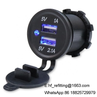 China Manufacturer Price DC 12V USB Socket 3.1A Dual USB Car Charger Socket For Modified Car Motorcycle Boat Bus Marine wholesale