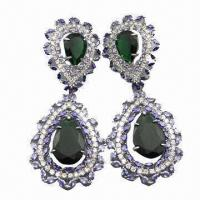 China Sterling silver drop earrings with peridot and cubic zircon, in sv925 stamped heart shape wholesale