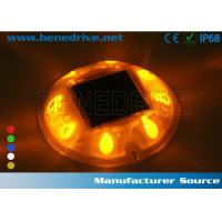 China 8 LEDs Solar Barricade Lights 360 Degree Illuminated For Safety Guidance 10T Resistant Dia.118mm wholesale
