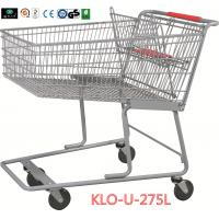 Quality 275L American Grocery Store Shopping Trolley With Base Grid / Metal Supermarket Carts for sale
