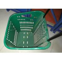 China Red Plastic Basket Carts With Wheels Supermarket / Vegetable Shopping Basket wholesale