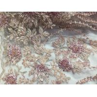 China 47 Inch Pink Embroidered Heavy Beaded Lace Fabric By The Yard With Scalloped Edge wholesale