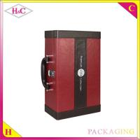 China Handmade luxury pu leather wine bottle box with handle wholesale