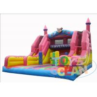 China Backyard Pink Inflatable Obstacle Jumping Castle Double Lane Toboggan For Kids Party wholesale