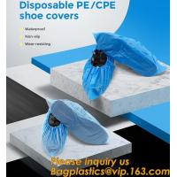 China Safety Products Equipment Indoor Disposable medical plastic shoe covers waterproof PE CPE material,PE material blue shoe wholesale